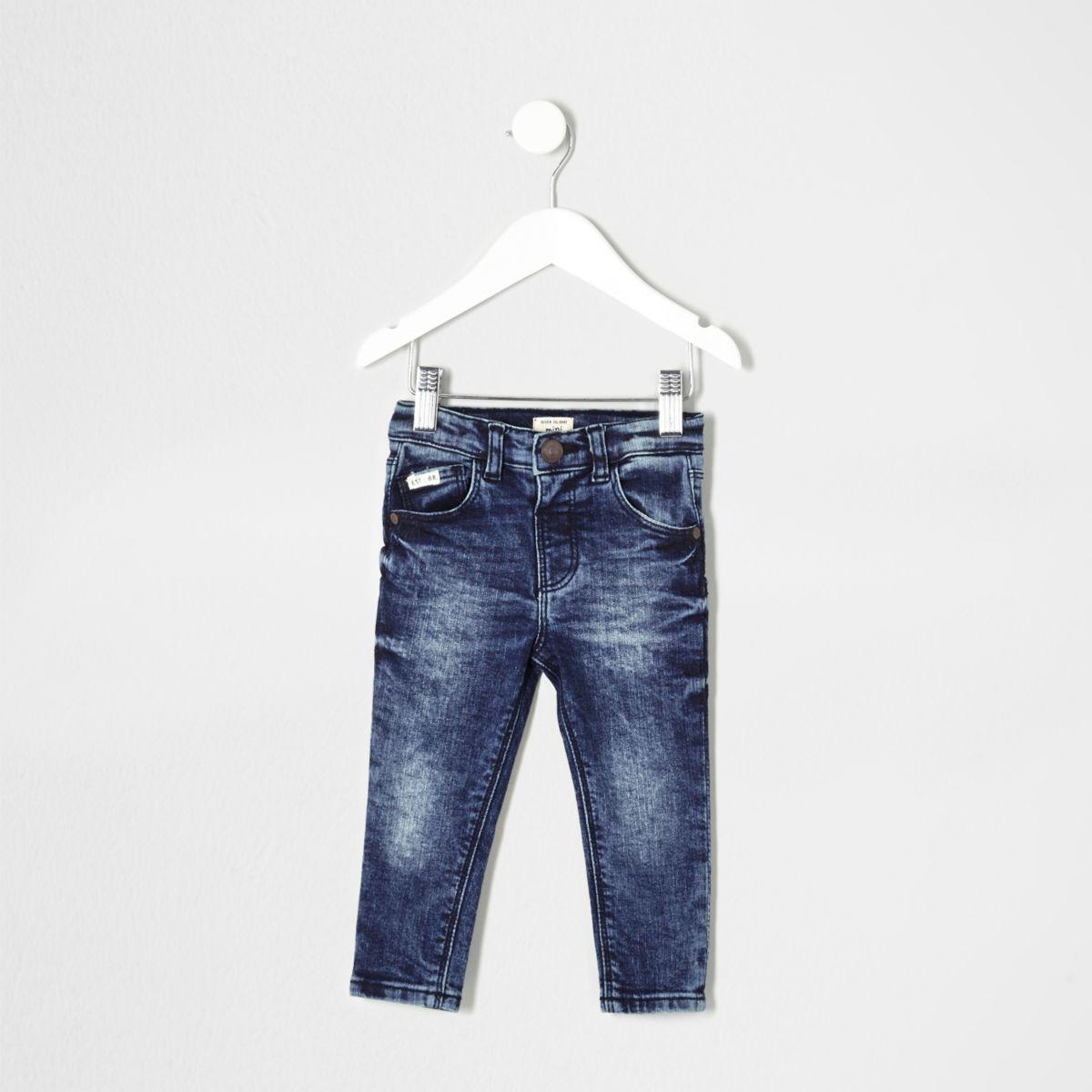 Mini boys mid blue wash Sid skinny jeans