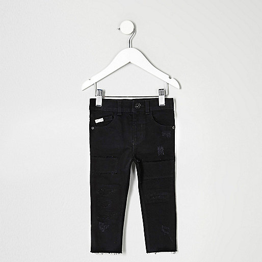 Mini boys black distressed Sid skinny jeans