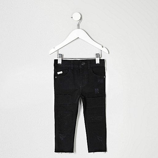 Mini boys black distressed Sid skinny jeans