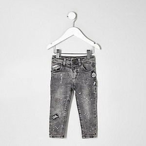 Mini boys grey acid wash Sid badge jeans