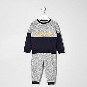 Ensemble pantalon de jogging et sweat gris Whatever mini garçon
