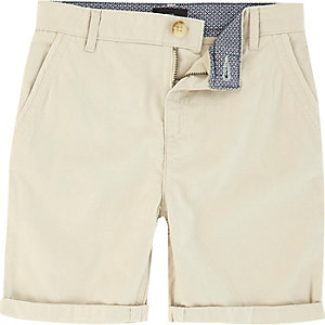 Boys light beige chino shorts