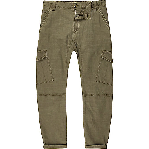 Boys khaki green cargo trousers