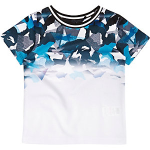 Mini boys blue camo mesh T-shirt