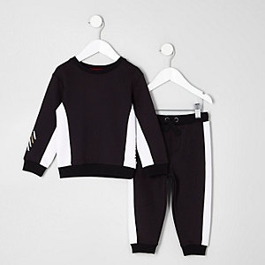 Mini boys black block sweatshirt and joggers