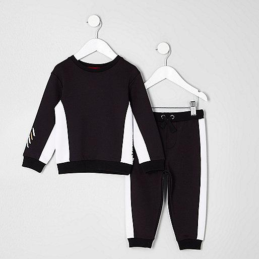 Mini boys black block sweatshirt and joggers