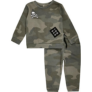 Mini boys khaki camo sweat set