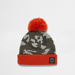 Mini boys khaki camo knit bobble hat