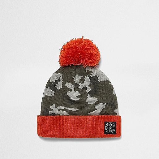 Mini boys khaki camo knit bobble hat