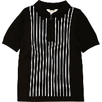 Polo en maille rayé blanc et noir pour garçon