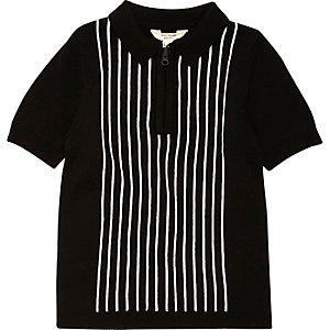 Boys black and white stripe knit polo shirt