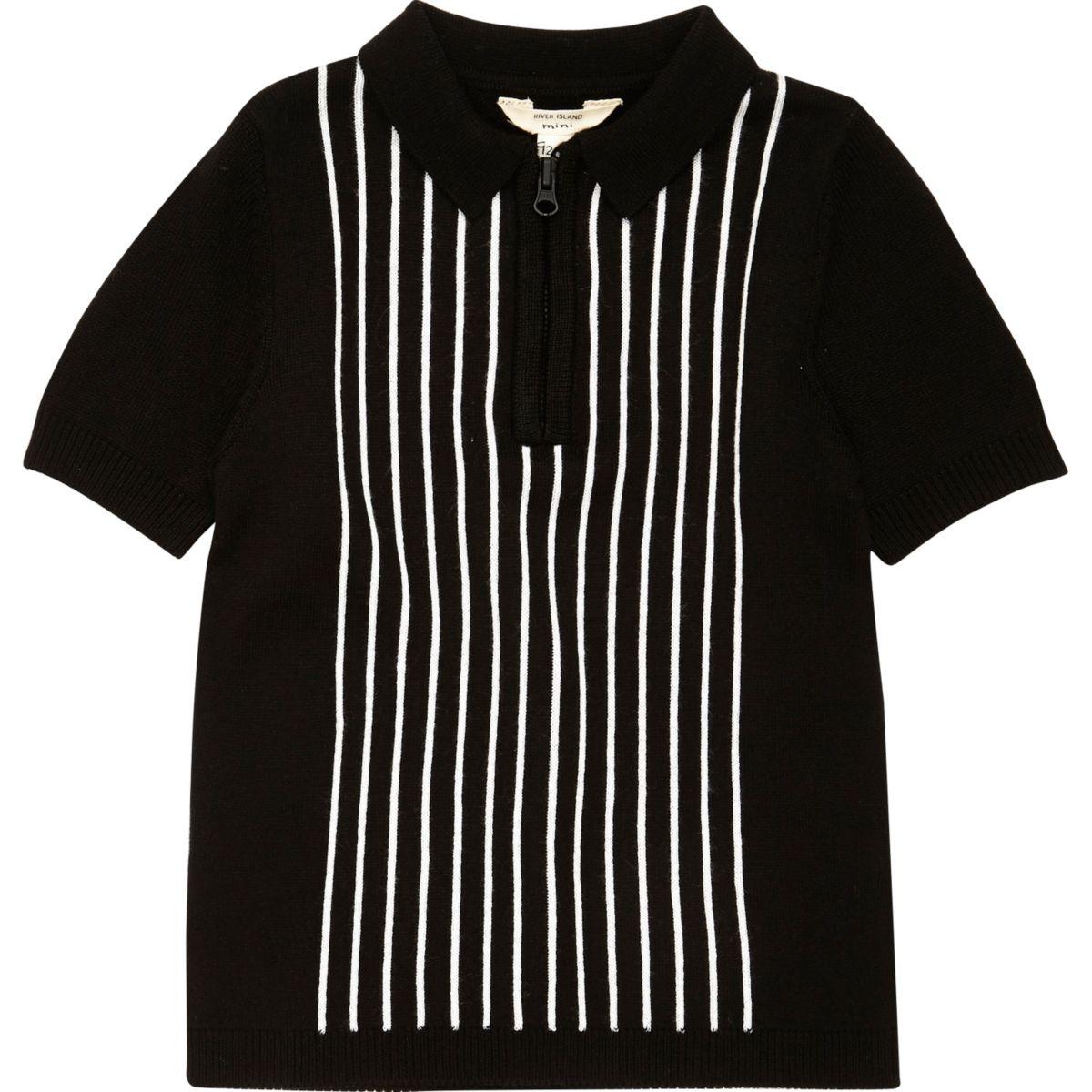 Mini boys black stripe knit polo shirt