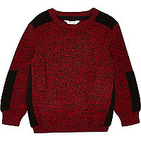 Mini boys red knit panel jumper