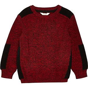 Mini boys red knit panel sweater