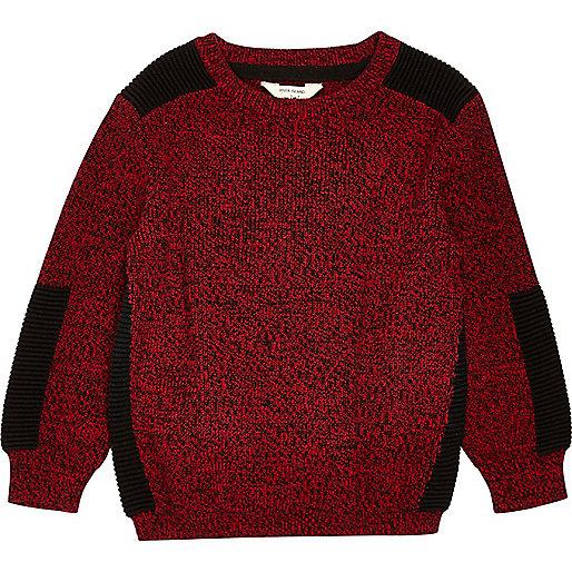 Mini boys red knit panel jumper