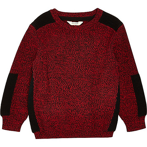 Mini boys red knit panel sweater