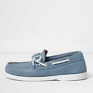 Boys blue suede boat shoes