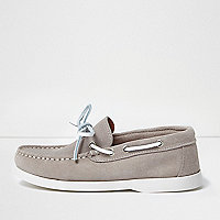Boys stone suede boat shoes
