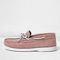 Chaussures bateau en daim rose pour garçon