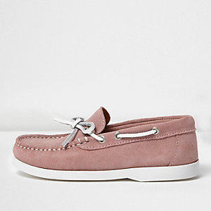 Boys pink suede boat shoes