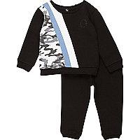 Mini boys black camo stripe jogger set