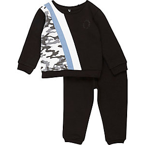 Mini - zwarte gestreepte joggingset met camouflageprint voor jongens