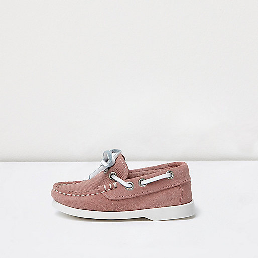 Mini boys pink suede boat shoes