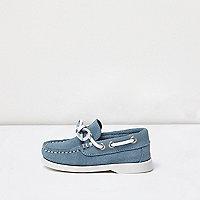 Chaussures bateau bleues en daim mini garçon