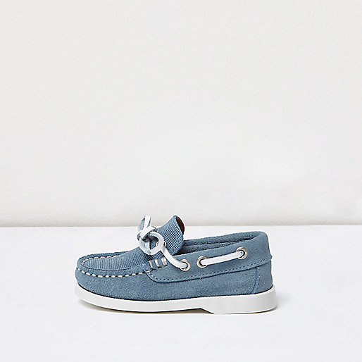 Mini boys blue suede boat shoes