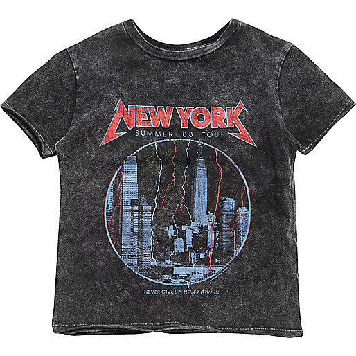 Mini boys grey acid wash NY print T-shirt