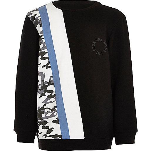 Black black and camo print sweatshirt