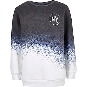 Boys blue faded geo print sweatshirt