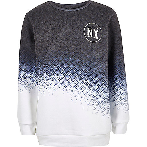 Boys blue faded geo print sweatshirt