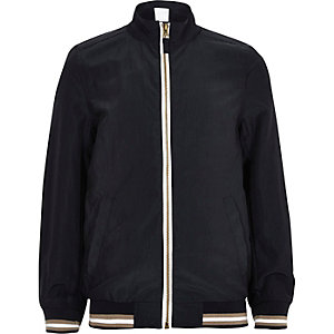 Boys navy sports zip up bomber jacket