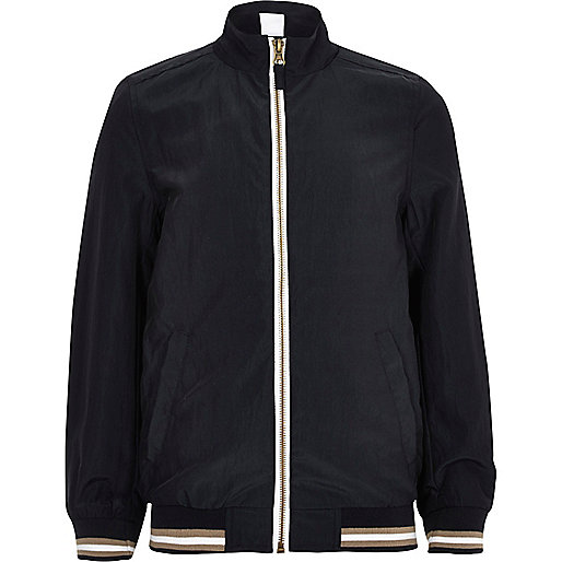 Boys navy sports zip up bomber jacket