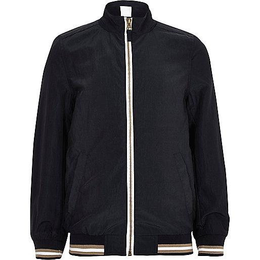 Boys navy sports zip up track jacket