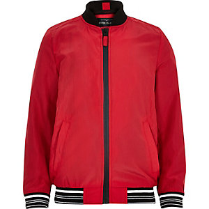 Boys red sports zip up bomber jacket