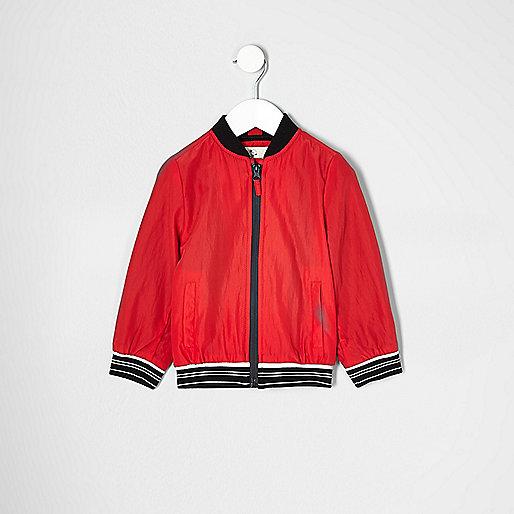 Mini boys red sports zip up jacket