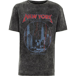 Boys grey acid wash NY print T-shirt