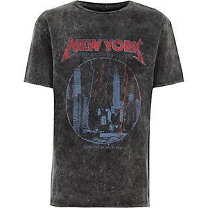 T-shirt à imprimé NY gris délavé à l'acide pour garçon