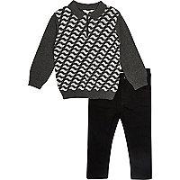 Mini boys grey geo print polo and jeans set