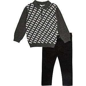 Ensemble jean et polo gris imprimé géométrique mini garçon