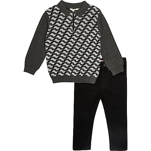 Mini boys grey geo print polo and jeans set