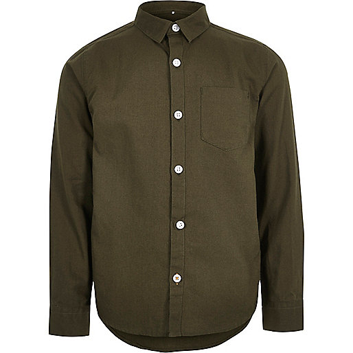 Boys khaki green Oxford shirt