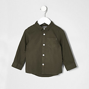 Mini boys khaki green Oxford shirt