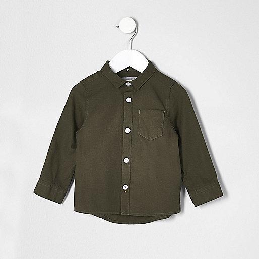Mini boys khaki green Oxford shirt