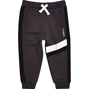 Mini boys grey block joggers