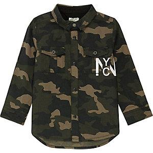 Mini boys khaki camo back print shirt