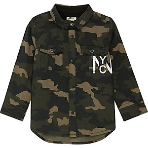 Mini boys khaki camo back print shirt