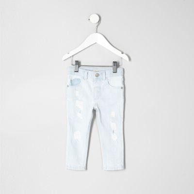 Mini Sid lichtblauwe gebleekte skinny jeans voor jongens